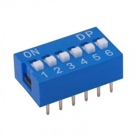 Chave Dip Switch Azul 6 Vias 180º