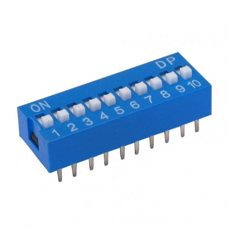 Chave Dip Switch Azul 10 Vias 180º