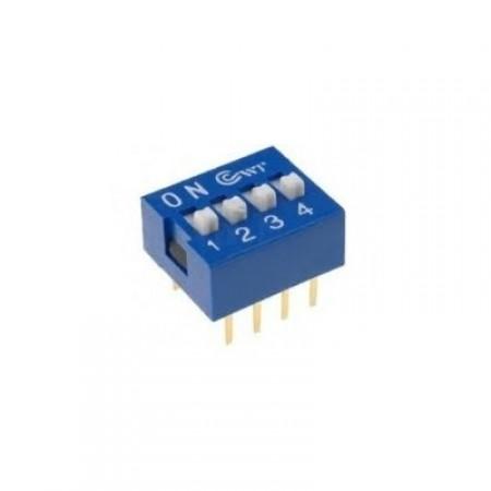 Chave Dip Switch Azul 4 Vias 180º