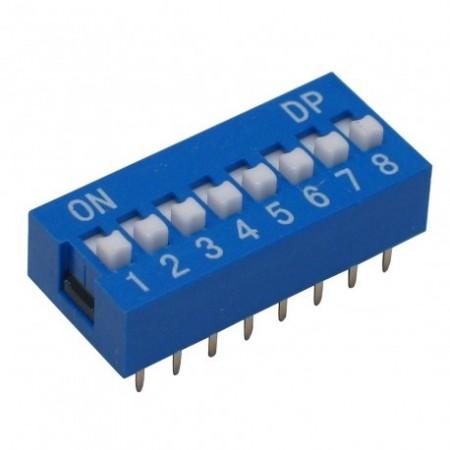 Chave Dip Switch Azul 8 Vias 180º