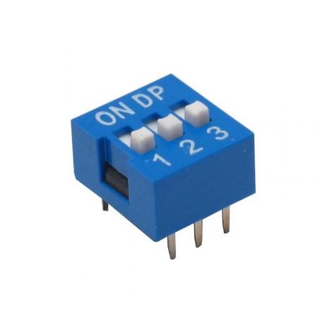 Chave Dip Switch Azul 3 Vias 180º